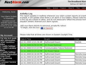 Activity log from Nextalarm