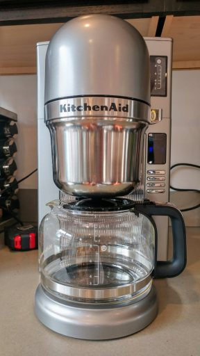 The KitchenAid KCM0802 coffeemaker, silver in color.